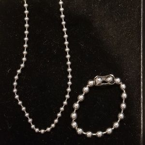 Punk Bead Silver Necklace/Bracelet Set